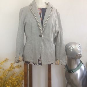 Anthropologie Cartonnier Gray Blazer Pinstripe